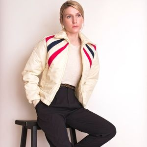 Vintage 70s striped puffer ski jacket